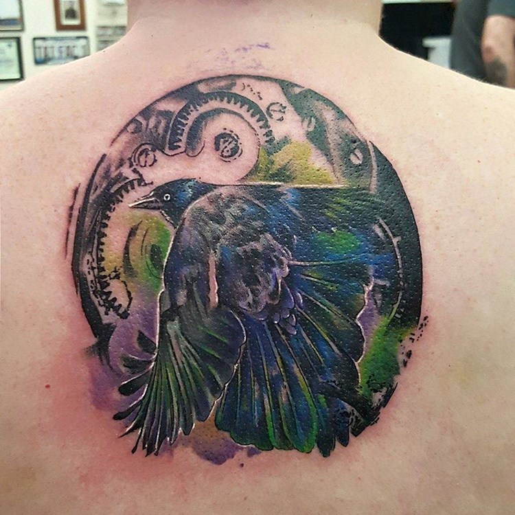 Tattoo Factory Chicago Amy Zager Abstract Raven Water Color Gears