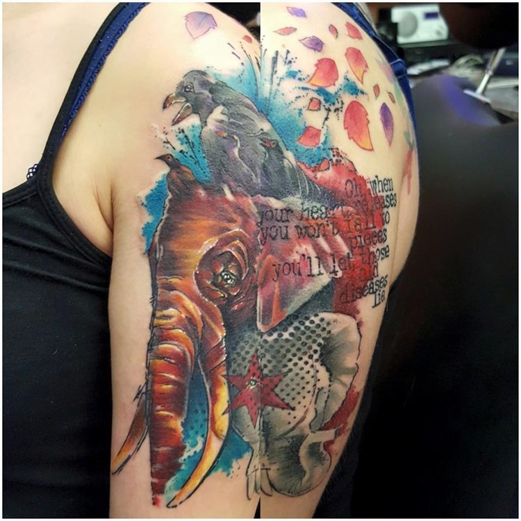 Tattoo Factory Chicago Amy Zager Trash Polka Abstract Elephant Crow